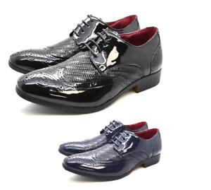 Mens Faux Patent Leather Italian Lace-up Formal Dress Suit Shoes UK SIZES 6-12