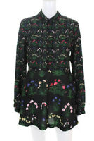Partysu Womens Long Sleeve Collared V Neck Mini Shirt Dress Black Floral Small