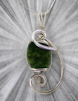 Wyoming Green Jade Necklace in Sterling Silver Wire  Wire Wrapped