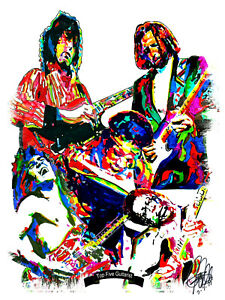 Top 5 Guitarists Page Van Halen Hendrix Clapton BB King Music Print 8.5x11