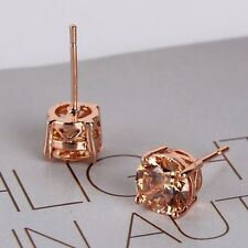 Classic 18k rose gold filled champagne sapphie  Stunning engagement stud earring