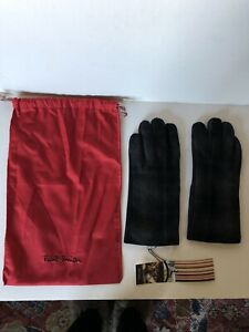 Paul Smith Leather Gloves Signature Multi Stripe Trim Piping Sz M RRP:£125