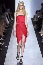 $318 BCBG MaxAzria Runway Red Rose Pink Draped Strapless Jersey Dress 8 NWT B652