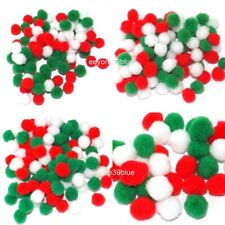 Pom Poms Crafts Christmas Festive colours 6mm 8mm 10mm 20mm Red White & Green