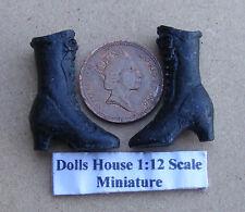 1:12 par de señoras Victoriano Botas Negras Casa de muñecas en miniatura Zapatos Accesorios