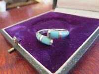 Super Toller 925 Silber Ring Türkis Blau Versetzt Modern Retro Vintage Top Optik