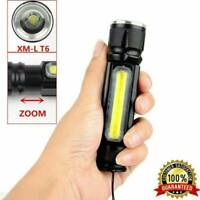50000LM COB LED Tactical 3 Modes USB Rechargeable Zoomable Flashlight Torch Lamp