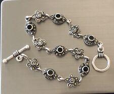 """Estate Vintage Signed A Sterling Silver Marcasite Onyx Link Bracelet 11g 7.25"""""""