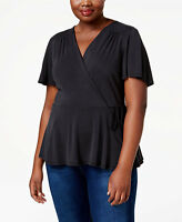 Monteau Trendy Plus Size Faux-Wrap Peplum Top Black Size 1X Style PL27510 J