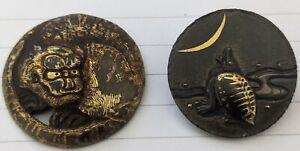 Edo Period Bronze Shakudo netsuke buttons Tiger & Minogame superb genuine