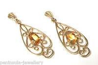 9ct Gold Citrine filigree drop Dangly Earrings Gift Boxed Birthday Made in UK