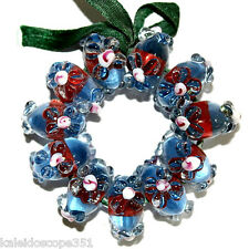 LAMPWORK FANCY GLASS BEADS DARK BLUE FLOWERS 11 BRACELET BEAD SET LAMP WORK