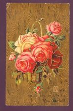 More such Days as this to You Befall Basket Roses BEST WISHES Vintage Postcard