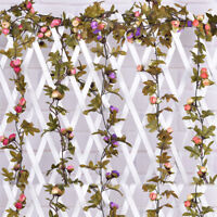 2.3m Artificial Rose Flowers Vine with Green Leaves Home Wedding Hanging Garland
