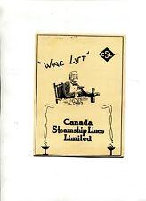 Vintage Cruise Ship Menu Wine List CANADA STEAMSHIP LINES undated
