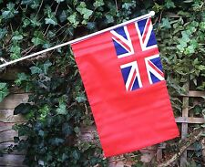 """RED ENSIGN 18"""" x 12"""" LARGE HAND WAVING COURTESY FLAG & POLE"""