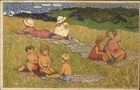Impressionism Children in Grassy Field JUGEND Graph Anstalt c1910 Postcard