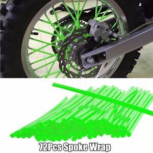 Motocross Dirt Bike Enduro Wheel Rim Spoke Skins Cover Green Accurate Cycle 72PC