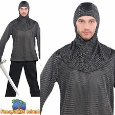 TUNIC AND HOOD CHAIN MAIL KNIGHT LANCELOT One Size Mens fancy dress accessory