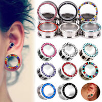 Pairs Rhinestone Crystal Screw Tunnel Ear Expander Stretch Plugs Piercing Gauge