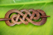 Carved CELTIC Style wooden Hair Pin BARRETTE Slide Clasp Clip Sono wood handmade