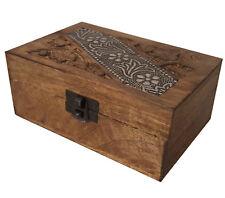 Deko 155x95mm Holzbox Holzkiste Schatzkiste Truhe Holz braun Box Ornamente
