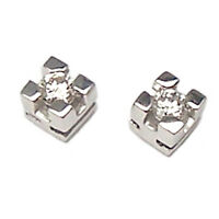Orecchini punto luce tappabuchi in oro bianco 18 kt. con diamanti VS1 G 0,10 ct.