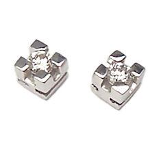 Pendientes punto de luz tappabuchi oro blanco 18 kt. con diamantes VS1 G 0,10 ct