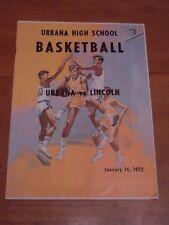 Urbana High School Basketball Program vs Lincoln Railsplitters Jan 14 1972 Ihsa