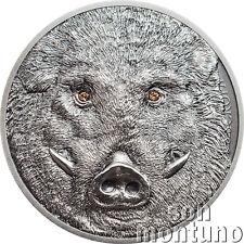 2018 Mongolia WILD BOAR Wildlife Protection 1 oz Antique Finish Silver Coin BOX