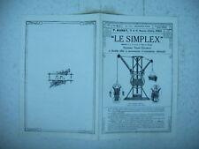 publicité prospectus treuil élévateur LE SIMPLEX vers 1920 / 1930