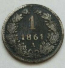 +1. 1 Kreuzer 1861 A Wien  Franz Josef Austria no Copper RARE