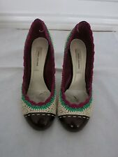 MARC JACOBS crochet beige green and violet pump size 39 us 9