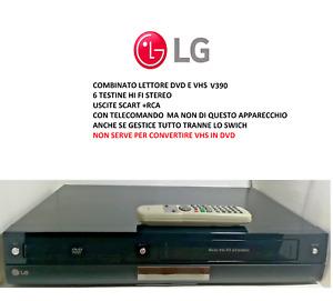 LG V390 LETTORE DVD VHS RECORDER VCR COMBO USATO CON TELECOMANDO OTTIMO STATO