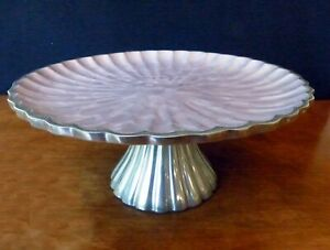 """Peony Cake Stand Enameled - Julia Knight - Retired - Lilac - 10"""""""