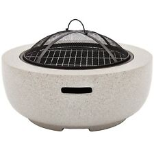 VonHaus Round MgO Fire Pit/Circular Fire Bowl With BBQ Grill For Outdoor/Garden