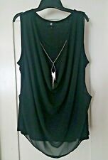 IZ BYER BLACK SLEEVELESS BLOUSE/TOP WITH NECKLACE 2XL