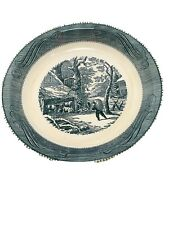Vintage Winter Farm Scene Pie Dish Preowned