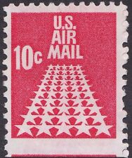 US - 1968 - 10 Cents Carmine 50 Star Runway Miscut Jumbo Airmail Stamp #C73 Used
