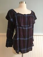 Size Small S Ann Taylor Loft Ruffle Neckline Plaid Blouse Top Shirt Women's Boho