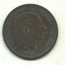 VERY NICE BETTER GRADE 1878 OM SPAIN DIEZ GRAMOS 5 CENTIMOS-OLD COIN-MAY536