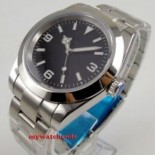 40mm bliger sterile black dial solid case sapphire glass automatic mens watch
