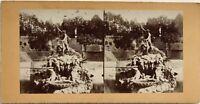 Fontana Da Nettuno Napoli? Italia Fotografia Stereo Vintage Citrato c1900