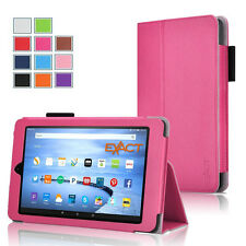 Exact PRO【Slim-Fit PU Leather】Folio Case For Amazon Fire 7 Tablet 5th Gen Pink