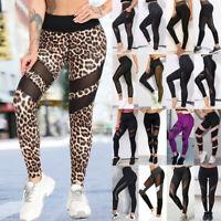 Women Mesh Yoga Pants High Waist Leggings Sport GYM RUN Fitness Exercise Trouser