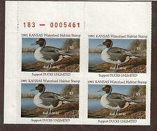 KS5 - Kansas  State Duck Stamp. MNH OG. Plate Numbered Block Of 4.#02 KS5PB4