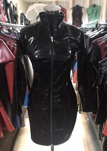 Misfitz  black gloss Pvc mistress dress 2 way zip size 18. Goth TV Cross Dresser