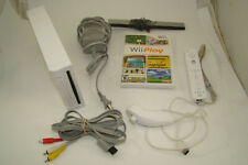 Nintendo Wii White Console with WII Play Game Cables and Controller TESTED