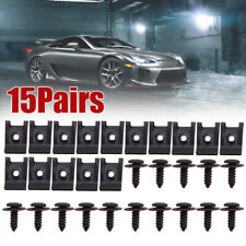 Spring Metal U type Clip with Screw Car Bumper Fender Trim Panel Fasteners(Fits: More than one vehicle)