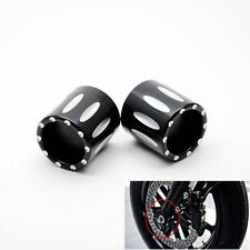 Black Deep Edge Cut Front Axle Nut Cover Cap Bolt For Harley Road King Classic